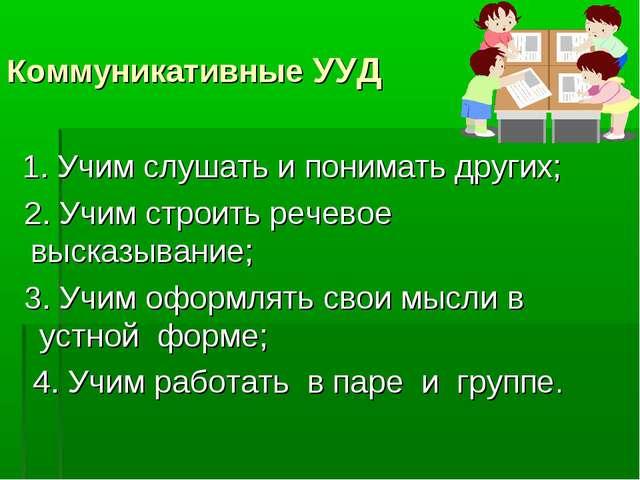 Коммуникативные УУД 1. Учим слушать и понимать других; 2. Учим строить речев...