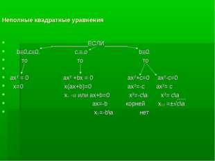 Неполные квадратные уравнения ___________ЕСЛИ_______ b=0,с=0 с = о b=0 то то
