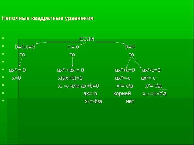 Неполные квадратные уравнения ___________ЕСЛИ_______ b=0,с=0 с = о b=0 то то...