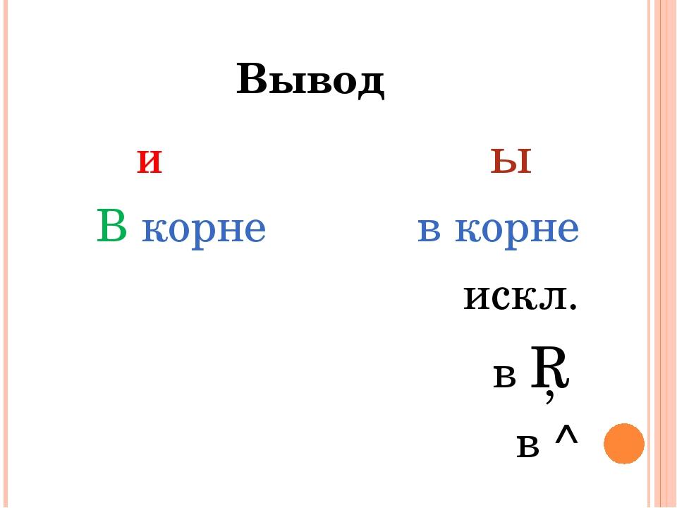 Вывод И ы В корне в корне искл. в □ в ^