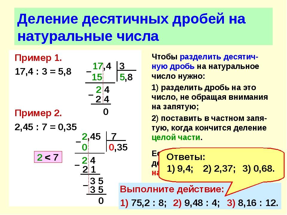 Пример 1. 17,4 : 3 = 5,8 Пример 2. 2,45 : 7 = 0,35 Деление десятичных дробей...