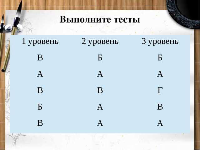 Выполните тесты 1 уровень 2 уровень 3 уровень В Б Б А А А В В Г Б А В В А А