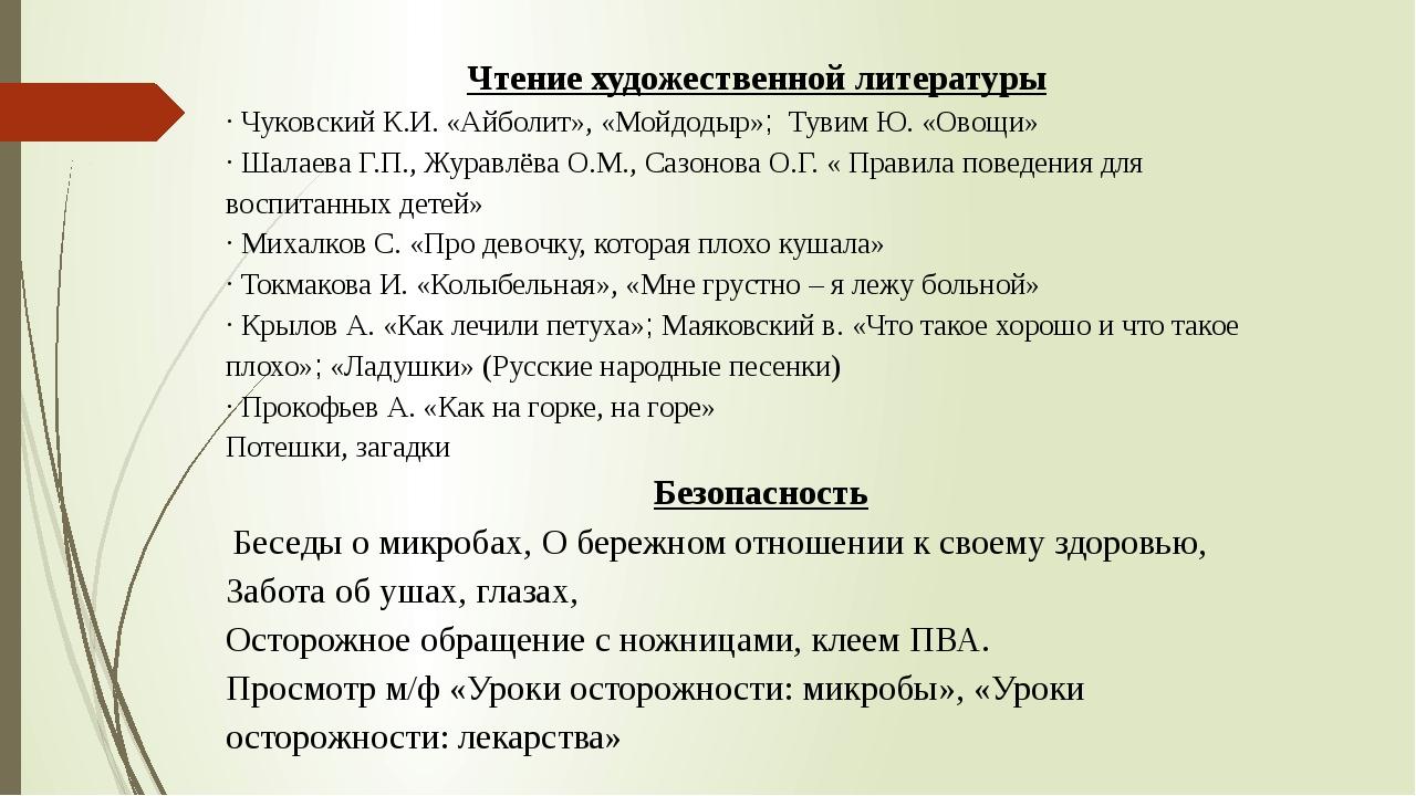 Чтение художественной литературы · Чуковский К.И. «Айболит», «Мойдодыр»; Туви...