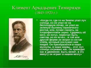 Климент Аркадьевич Тимирязев (1843-1920 г.) «Когда-то, где-то на Землю упал л
