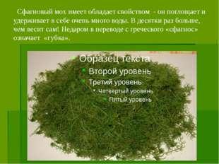 Сфагновый мох имеет обладает свойством - он поглощает и удерживает в себе оч