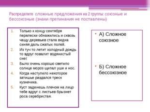 Распределите сложные предложения на 2 группы: союзные и бессоюзные (знаки пре