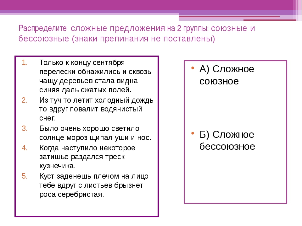 Распределите сложные предложения на 2 группы: союзные и бессоюзные (знаки пре...