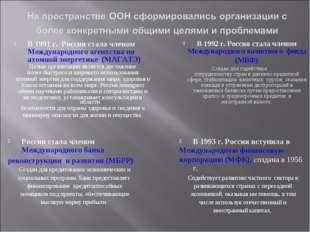 В 1991 г. Россия стала членом Международного агентства по атомной энергетике