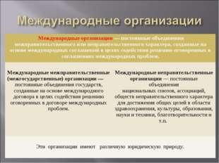 Международные организации — постоянные объединения межправительственного или