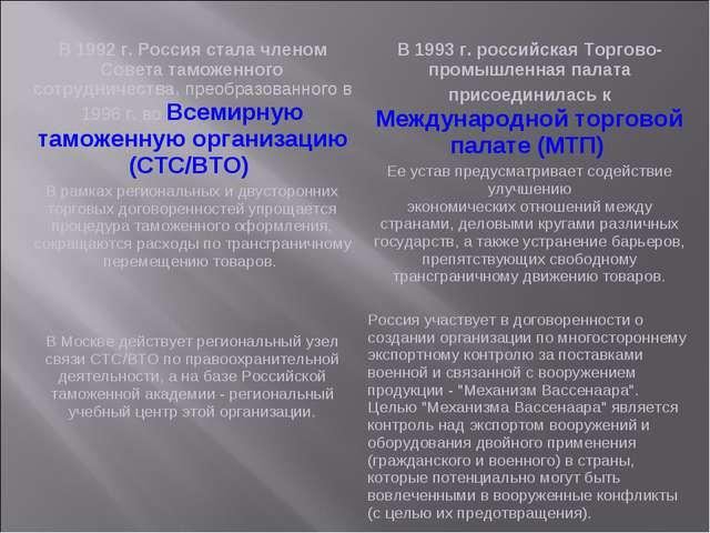 В 1992 г. Россия стала членом Совета таможенного сотрудничества, преобразован...