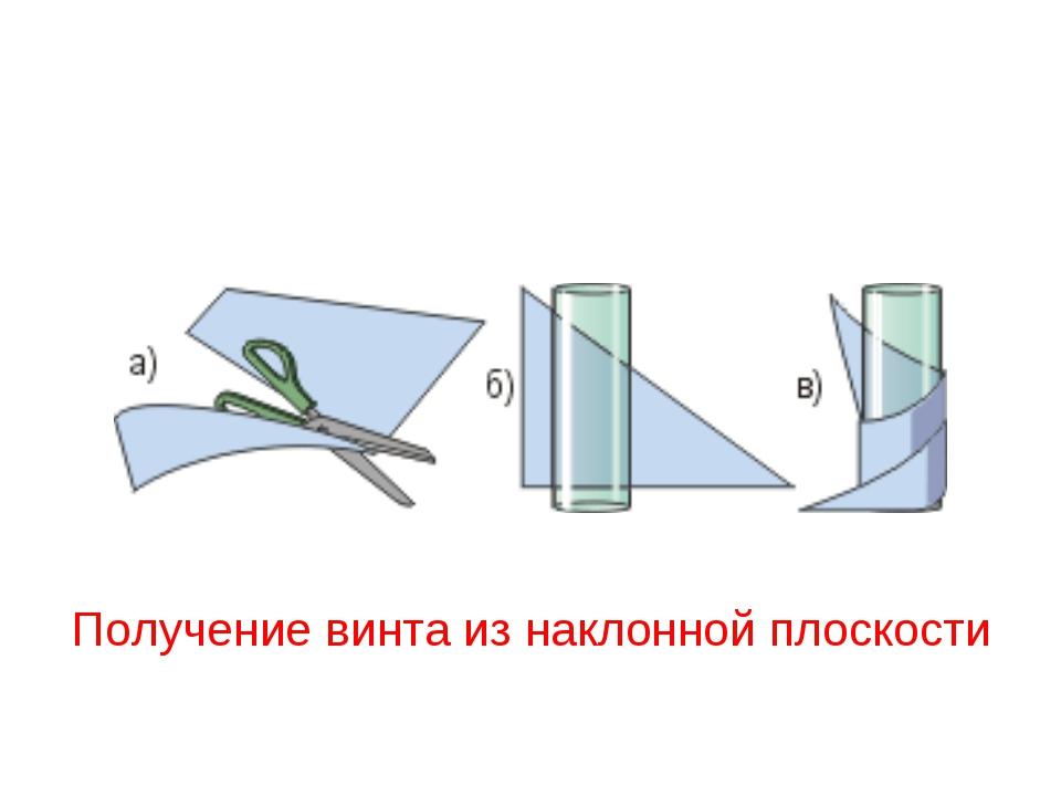 Получение винта из наклонной плоскости
