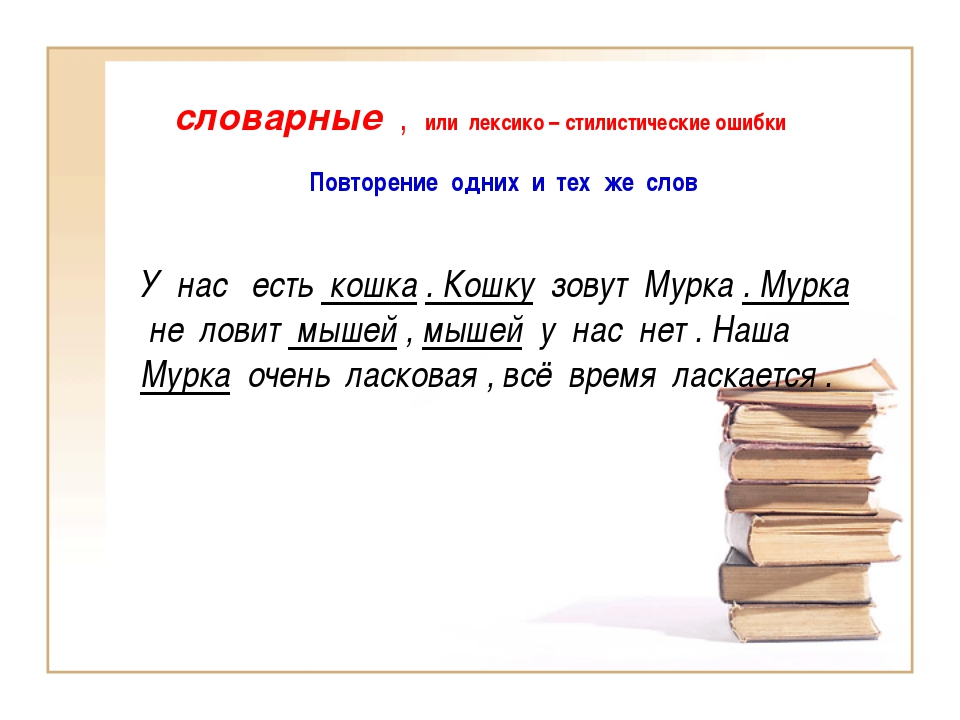 словарные , или лексико – стилистические ошибки Повторение одних и тех же сло...