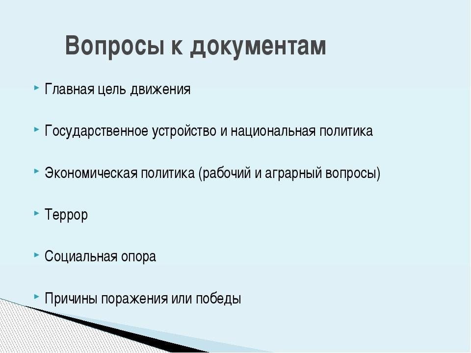 Главная цель движения Государственное устройство и национальная политика Экон...