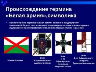 Происхождение термина «Белая армия»,символика Происхождение термина «Белая ар