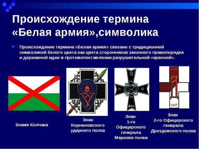Происхождение термина «Белая армия»,символика Происхождение термина «Белая ар...