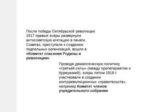 После победы Октябрьской революции 1917 правые эсеры развернули антисоветскую