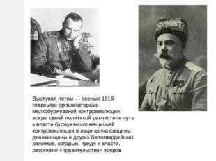 Выступая летом — осенью 1918 главными организаторами мелкобуржуазной контррев