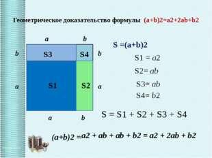 Геометрическое доказательство формулы (a+b)2=a2+2ab+b2 S1 S2 S4 b a b S = S1