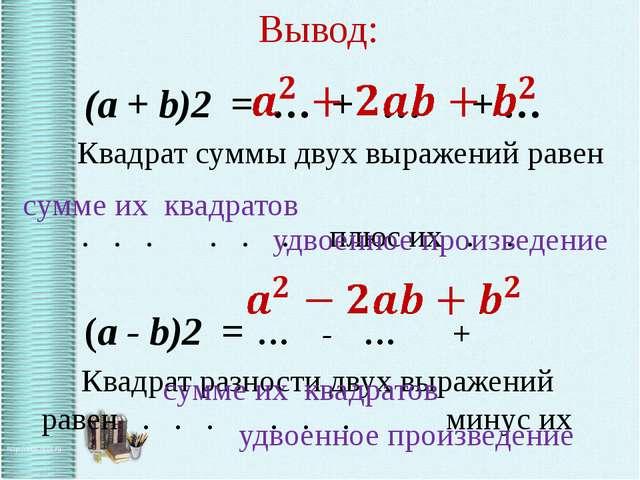 Вывод: (a + b)2 = … + … + … Квадрат суммы двух выражений равен . . . . . . п...