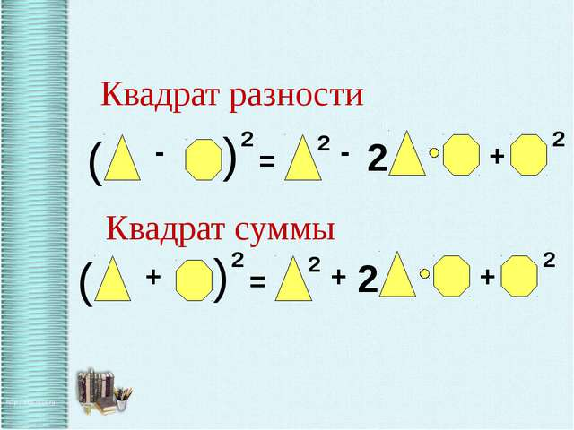 Квадрат суммы Квадрат разности - -