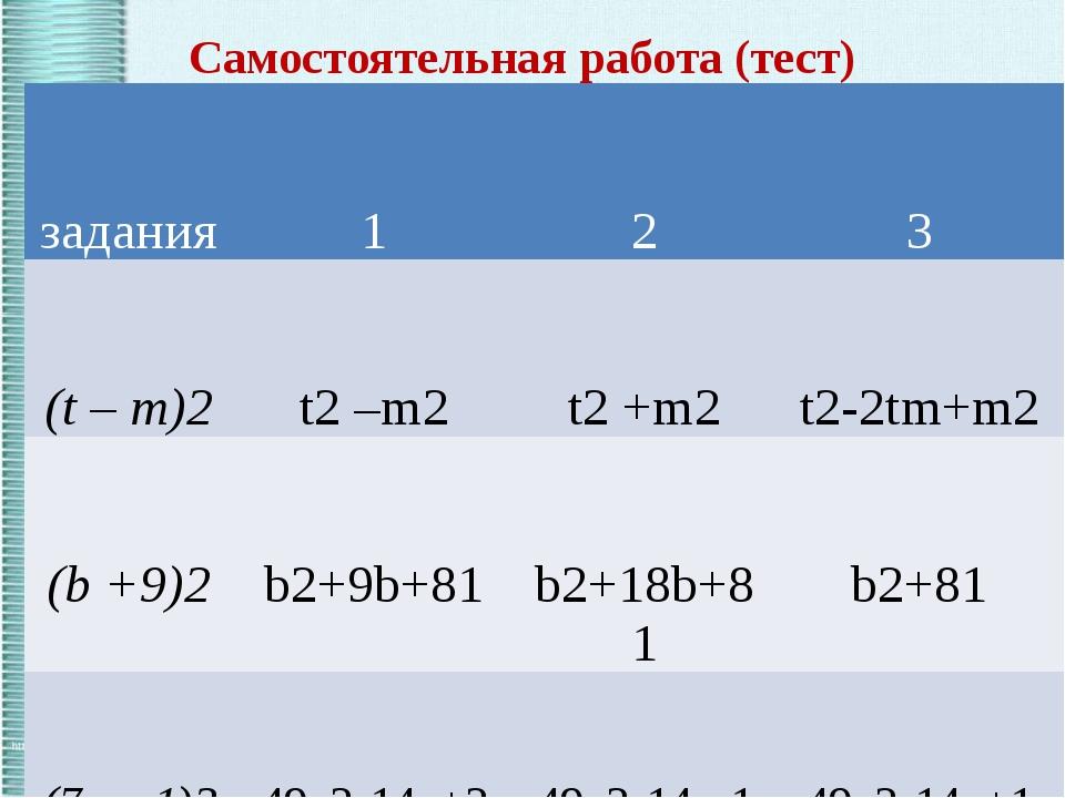 Самостоятельная работа (тест) задания 1 2 3 (t–m)2 t2–m2 t2+m2 t2-2tm+m2 (b+9...