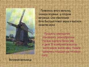 Ветряная мельница Появилось много мельниц, сначала водяных, а позднее ветряны