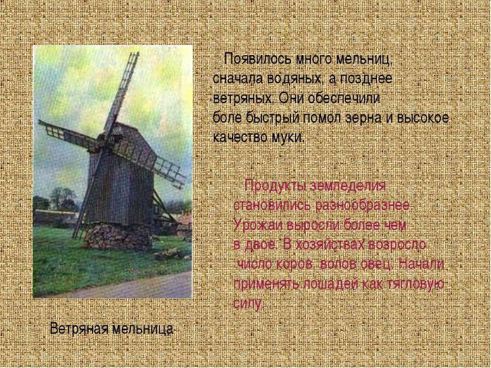 Ветряная мельница Появилось много мельниц, сначала водяных, а позднее ветряны...