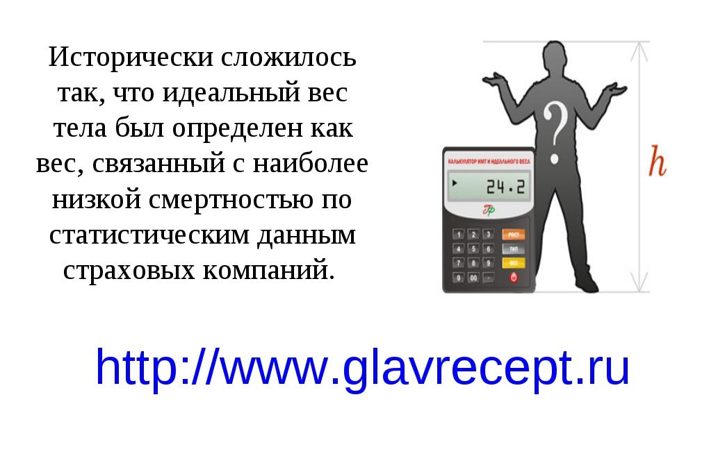 http://www.glavrecept.ru Исторически сложилось так, что идеальный вес тела бы...