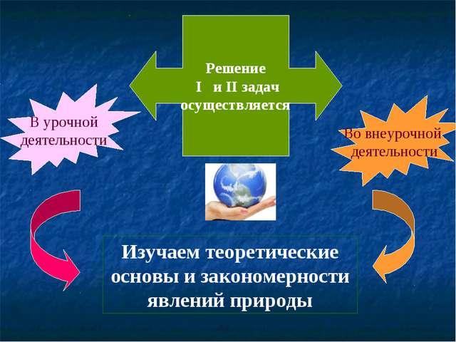 Решение I и II задач осуществляется В урочной деятельности Во внеурочной деят...