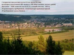 Сегодня поселок растянулся на 4,5 км, около 50 улиц, на которых расположено 4