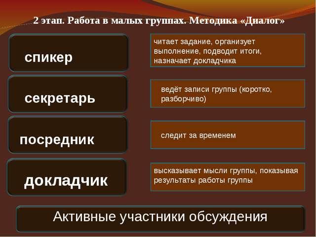 2 этап. Работа в малых группах. Методика «Диалог» спикер секретарь посредник...