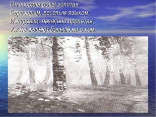 Отговорила роща золотая Берёзовым, весёлым языком, И журавли, печально пролет