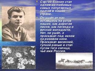 Сергей Есенин стал одним из любимых самых популярных поэтов в нашей стране. О