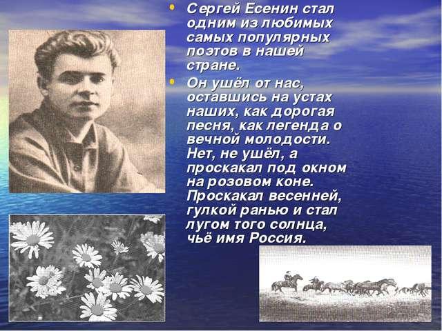 Сергей Есенин стал одним из любимых самых популярных поэтов в нашей стране. О...