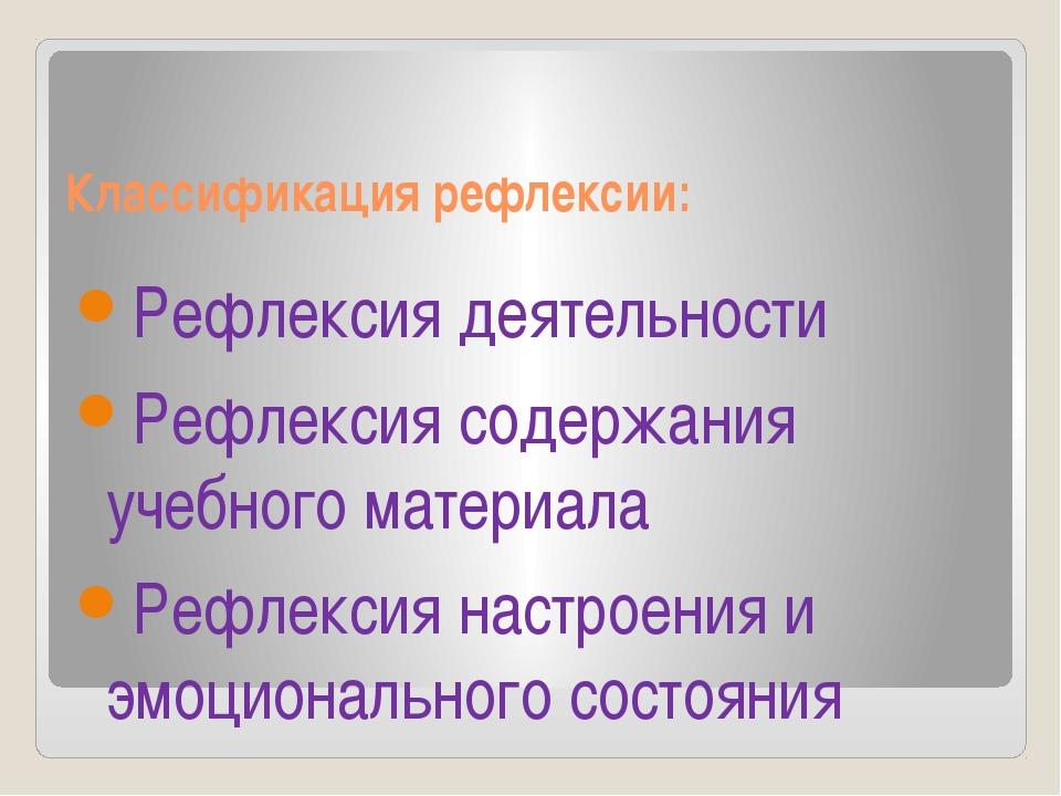 Классификация рефлексии: Рефлексия деятельности Рефлексия содержания учебного...