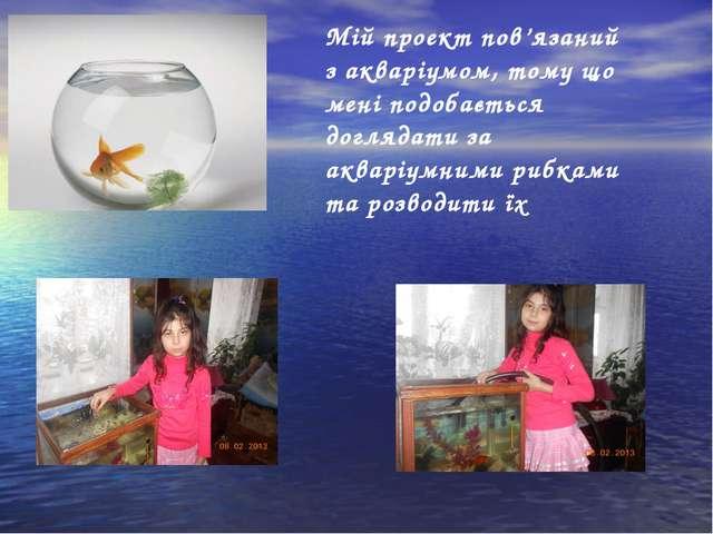 Мій проект пов'язаний з акваріумом, тому що мені подобається доглядати за акв...