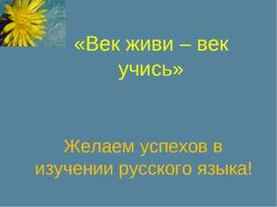 «Век живи – век учись» Желаем успехов в изучении русского языка!