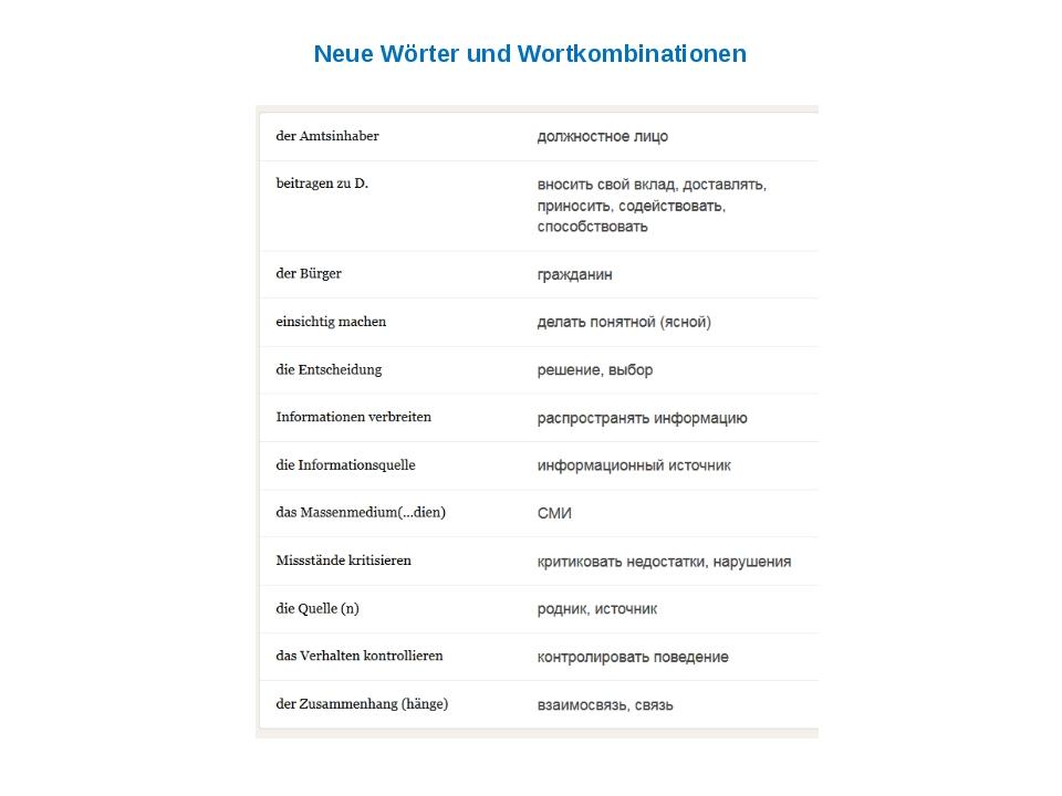 Neue Wörter und Wortkombinationen