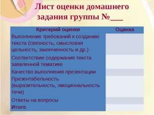 Лист оценки домашнего задания группы №___ Критерий оценкиОценка Выполнение т