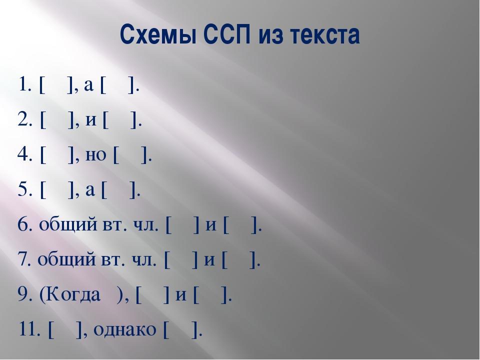 Схемы ССП из текста 1. [ ], а [ ]. 2. [ ], и [ ]. 4. [ ], но [ ]. 5. [ ], а [...