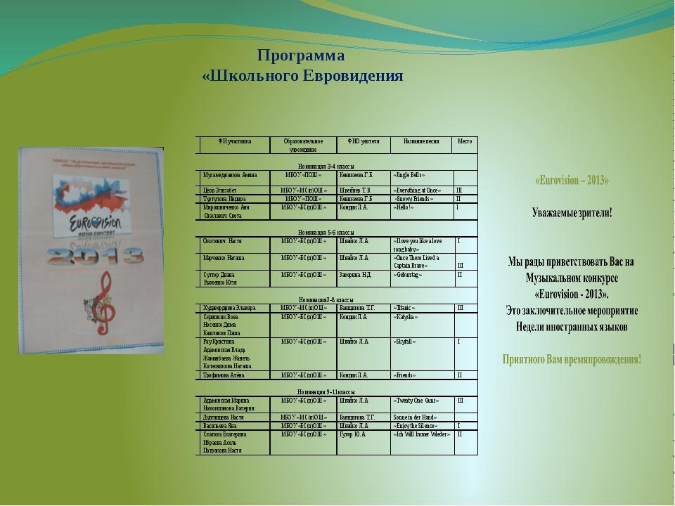 Программа «Школьного Евровидения
