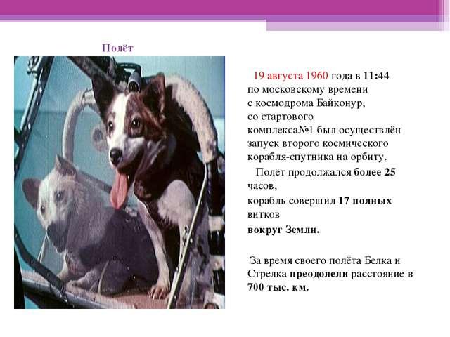 19августа 1960 года в11:44 помосковскому времени скосмодрома Байконур, с...