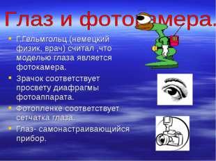 Г.Гельмгольц (немецкий физик, врач) считал ,что моделью глаза является фотока