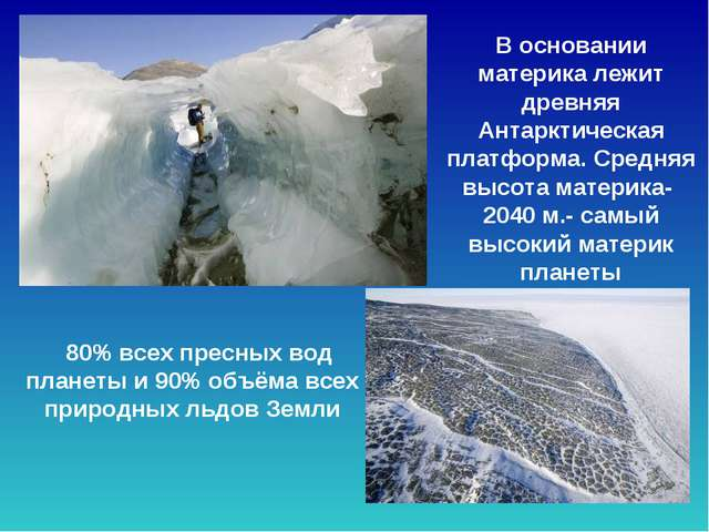 80% всех пресных вод планеты и 90% объёма всех природных льдов Земли В основ...