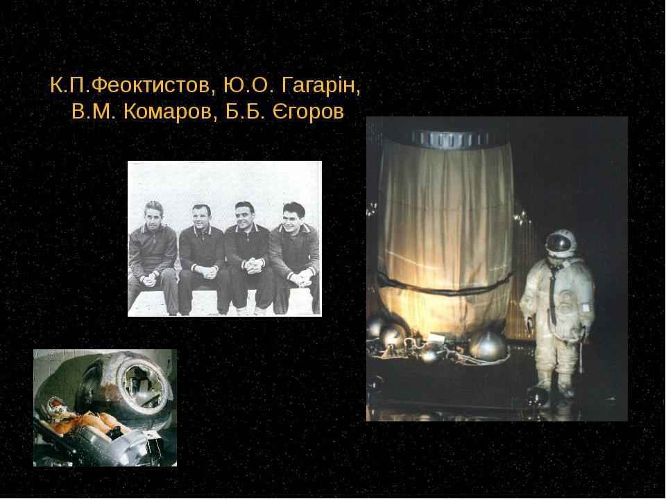 К.П.Феоктистов, Ю.О. Гагарін, В.М. Комаров, Б.Б. Єгоров