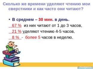 Сколько же времени уделяют чтению мои сверстники и как часто они читают? В ср