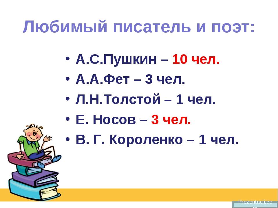 Любимый писатель и поэт: А.С.Пушкин – 10 чел. А.А.Фет – 3 чел. Л.Н.Толстой –...