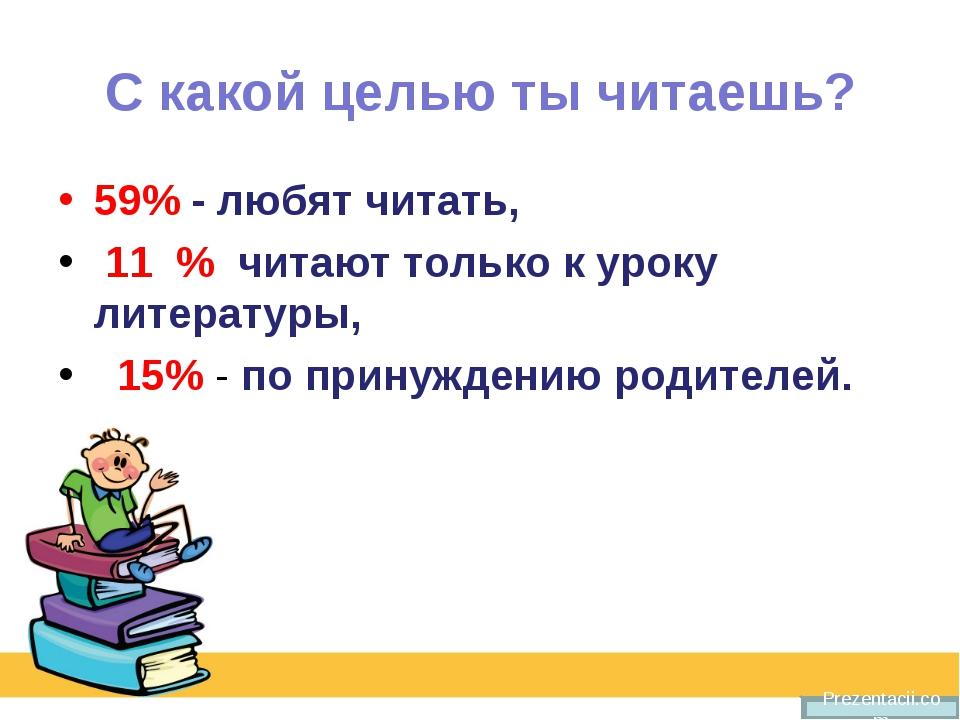 С какой целью ты читаешь? 59% - любят читать, 11 % читают только к уроку лите...