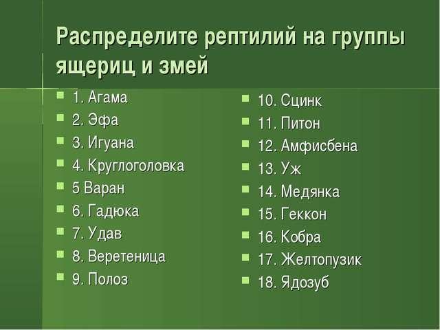 Распределите рептилий на группы ящериц и змей 1. Агама 2. Эфа 3. Игуана 4. Кр...
