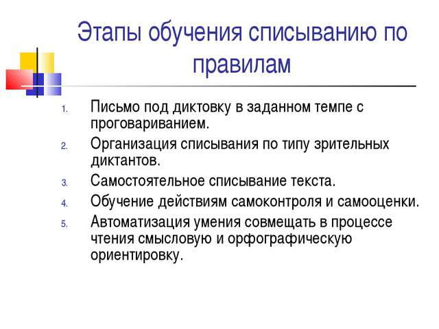 Этапы обучения списыванию по правилам Письмо под диктовку в заданном темпе с...